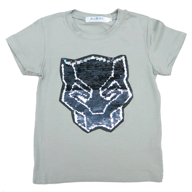 Gray Flip Sequins Black Panther T-Shirt