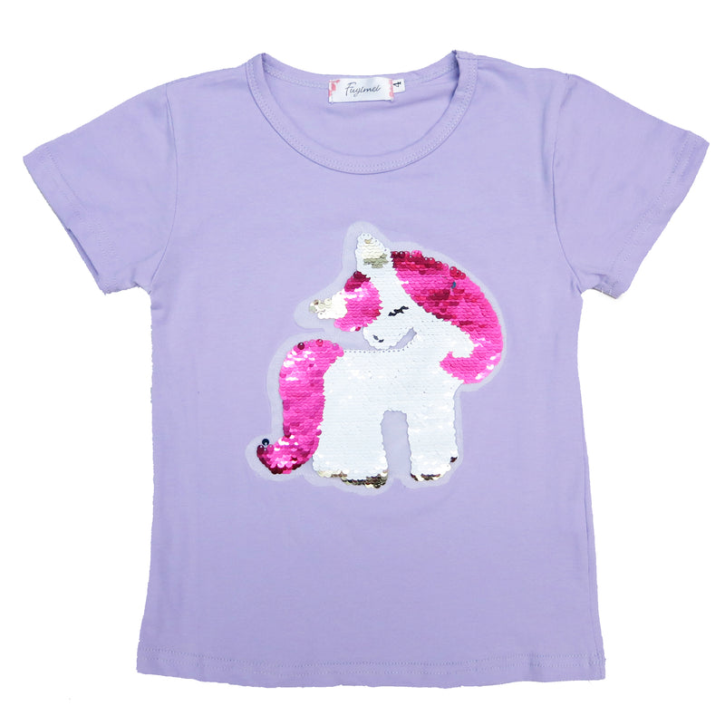 Lavender Flip Sequins Unicorn T-Shirt
