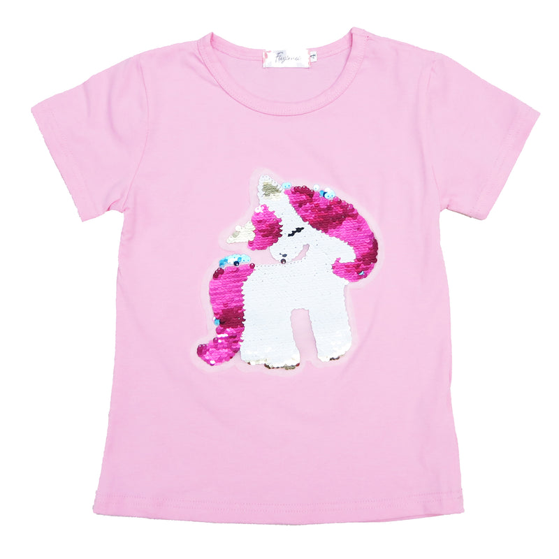 Pink Flip Sequins Unicorn T-Shirt