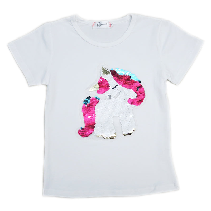 White Flip Sequins Unicorn T-Shirt