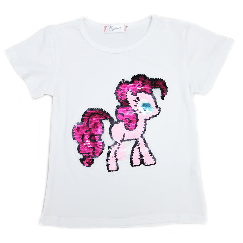 White Flip Sequins Little Pony T-Shirt