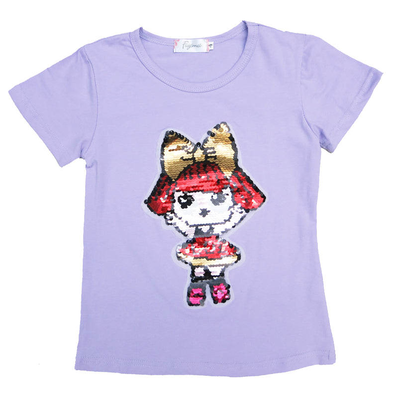 Lavender Flip Sequins LOL T-Shirt