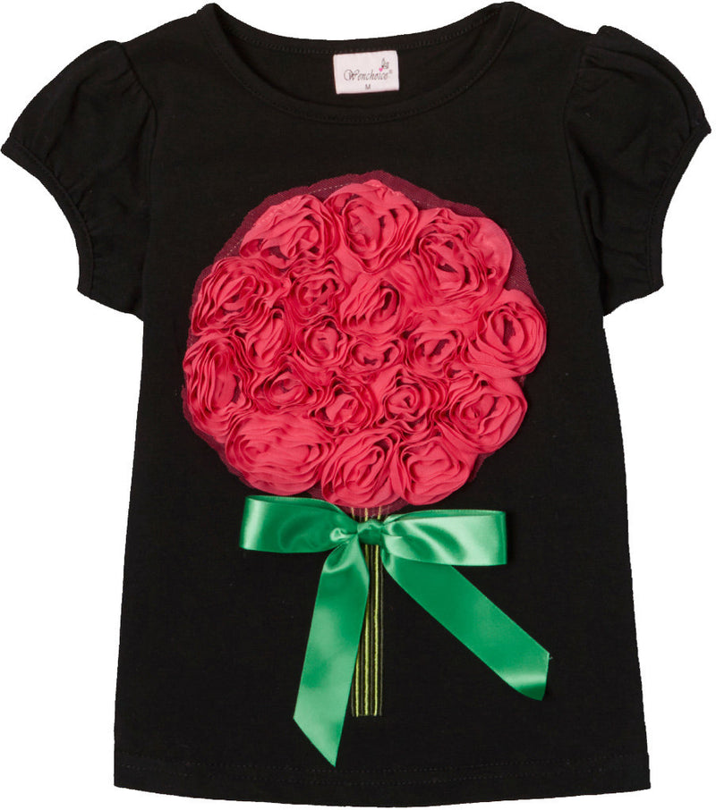 Black Short Sleeve Shirt With Hot Pink Big Flower