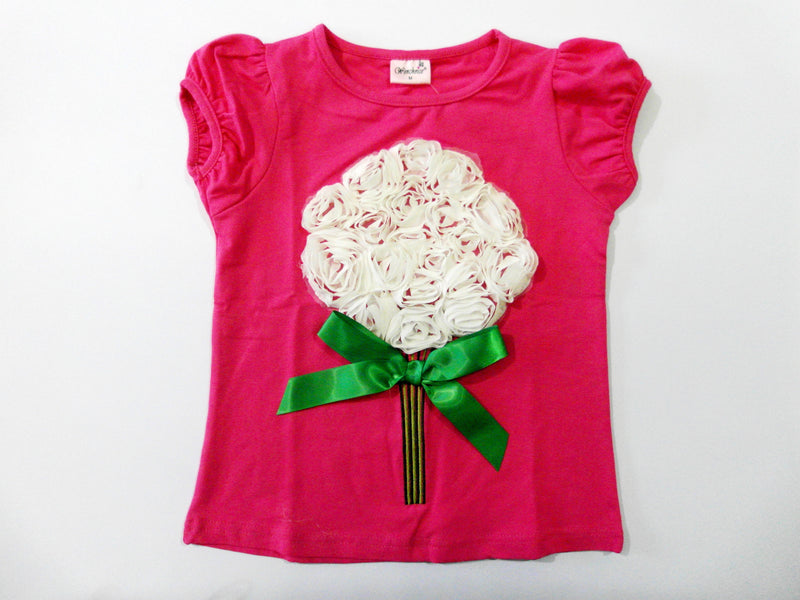 Hot Pink Short Sleeve Shirt With White Big Flower/Green Bow