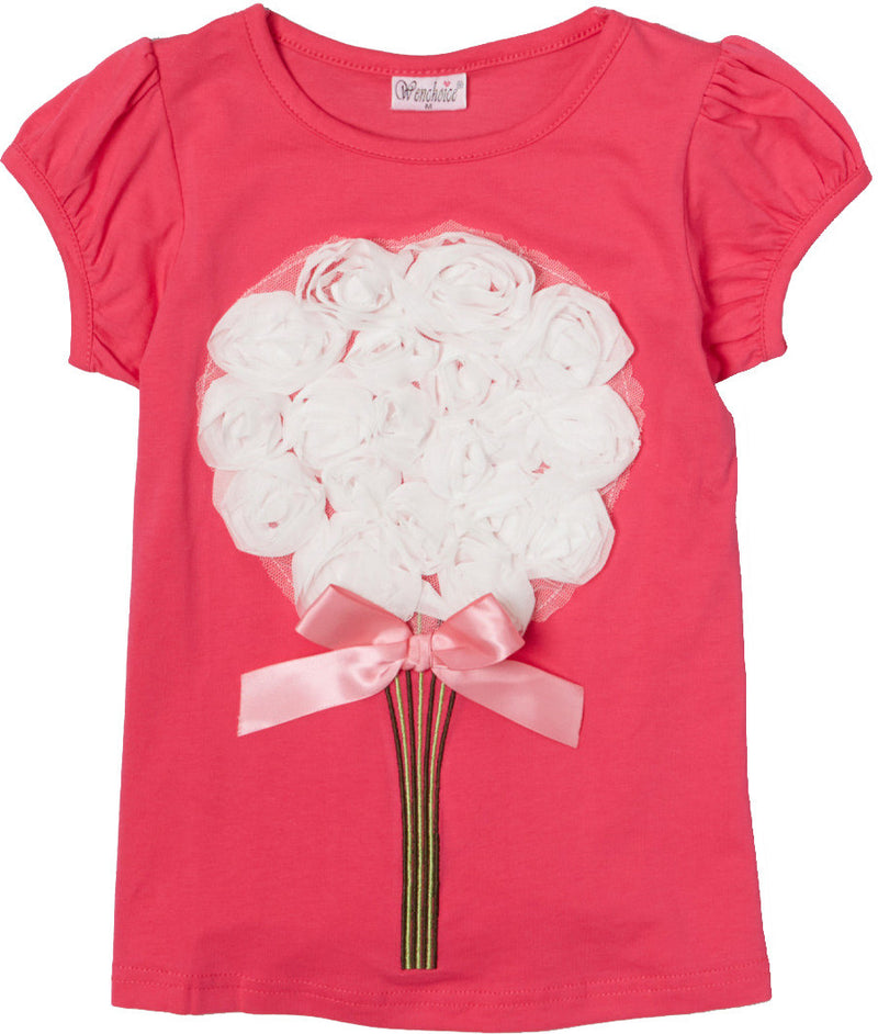 Hot Pink Short Sleeve Shirt With White Big Flower/Hot Pink Bow