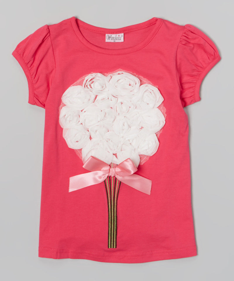 Hot Pink Short Sleeve Shirt With Big White Bouquet