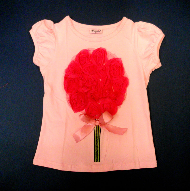 Pink Short Sleeve Shirt With Big Bouquet