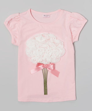 Pink Short Sleeve Shirt With White Big Flower