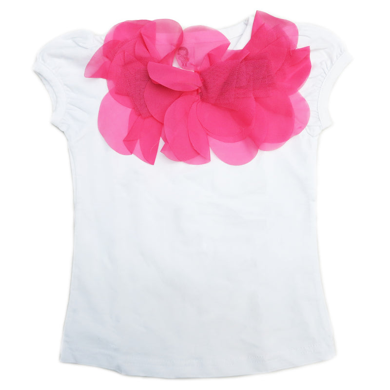 Hot Pink Ruffle Trim White Short Sleeve Shirt