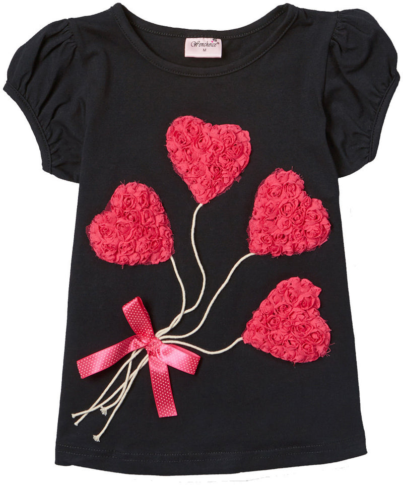 Black Short Sleeve Shirt With 4 Heart