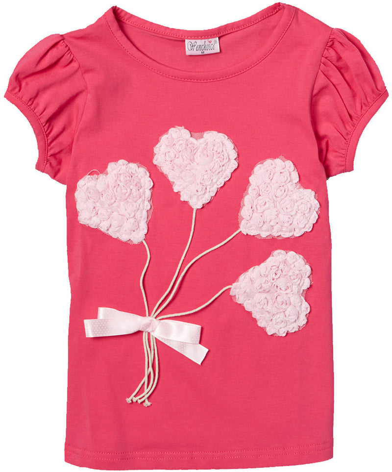 Hot Pink Short Sleeve Shirt With 4 Heart