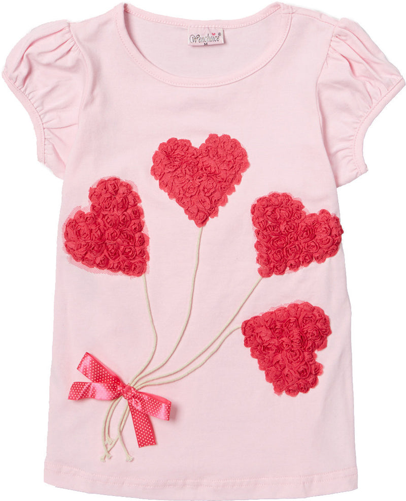 Pink Short Sleeve Shirt With 4 Heart