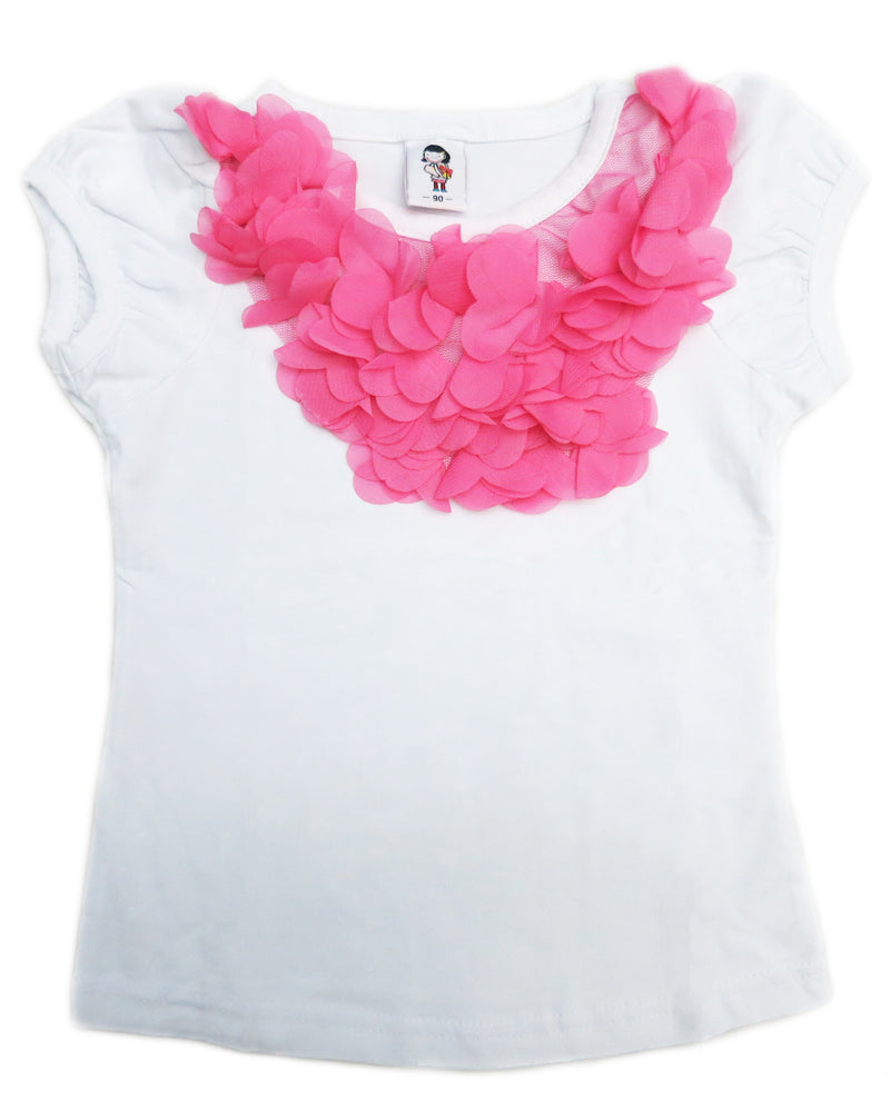 White Short Sleeve Shirt With Hot Pink Ruffle