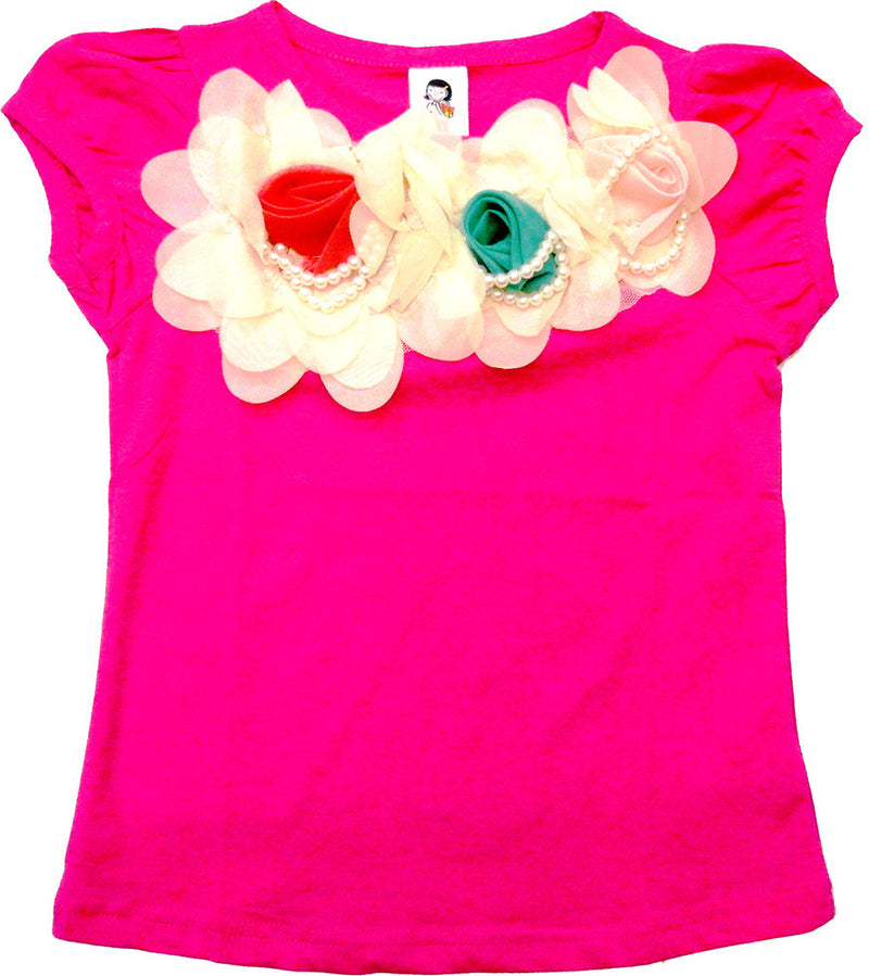 Hot Pink Short Sleeve Shirt With 3 Rose