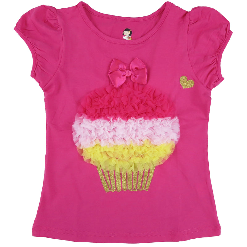 Hot Pink Short Sleeve Shirt With Colors Ruffle Cupcake
