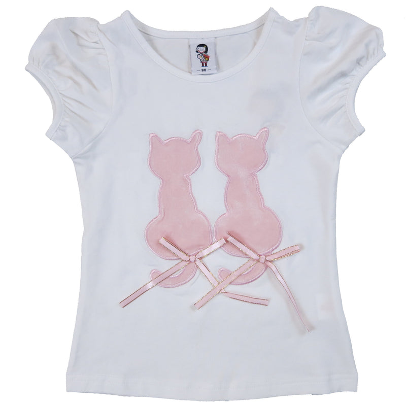Pink Couple Kitty White Short Sleeve Shirt