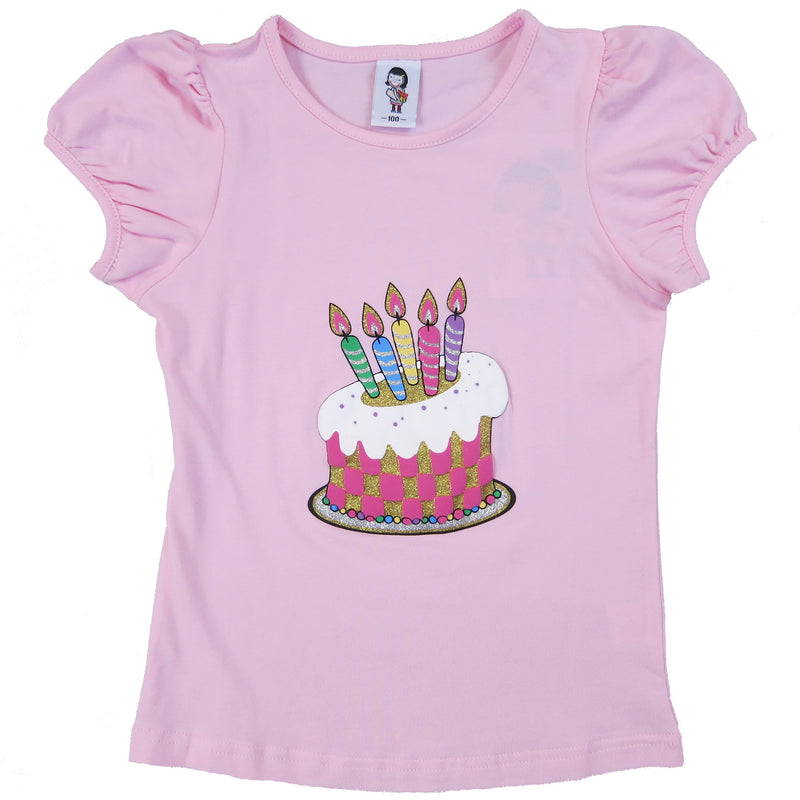 B-Day Cake & Candles Pink Short Sleeve Shirt