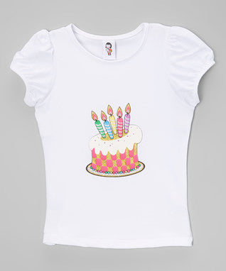 B-Day Cake & Candles White Short Sleeve Shirt