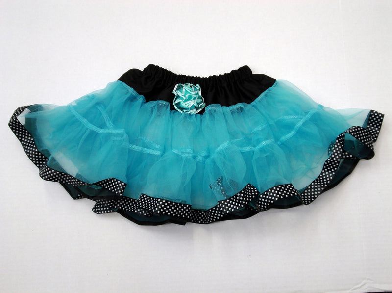 Blue Tutu With Black/White Dot Trim