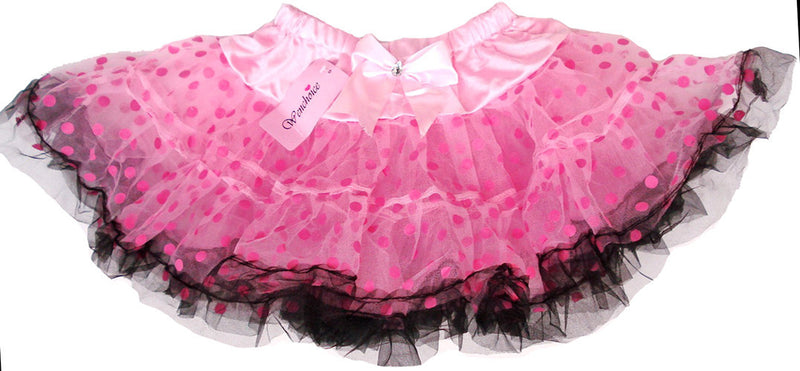 Pink/Pink Dot Tutu With Black Trim
