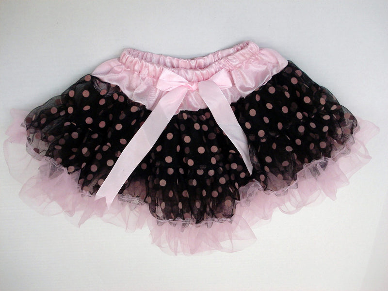 Black/Pink Dot Tutu With Pink Trim