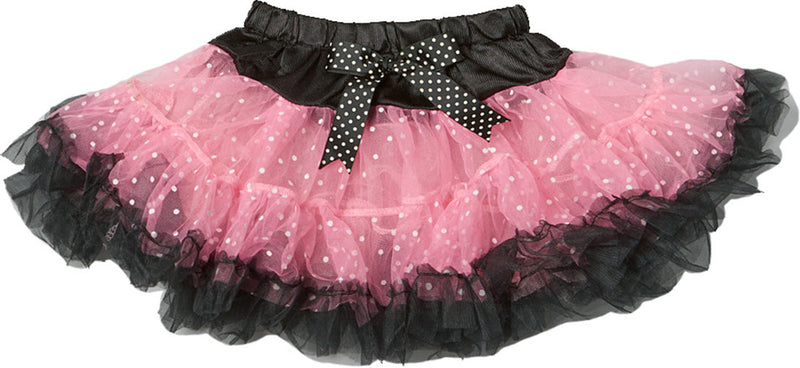 Pink/White Dot Tutu With Black Trim