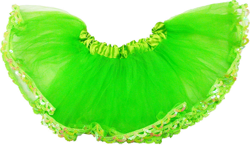 Solid Green Tutu With Sequin Trim