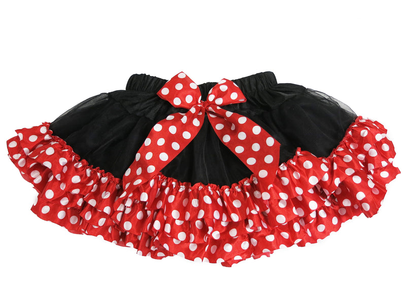 Black Tutu With Red-White Polka Dot Trim