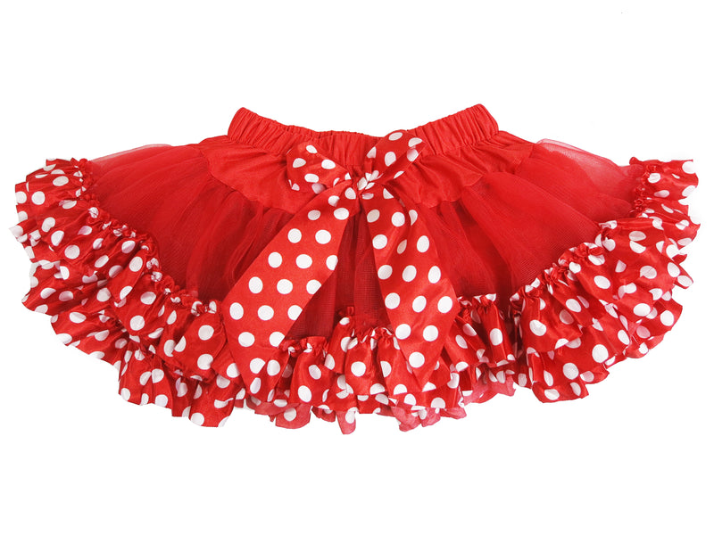 Red Tutu With Red-White Polka Dot Trim