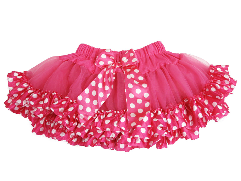 Hot Pink Tutu With Hot Pink-White Polka Dot Trim