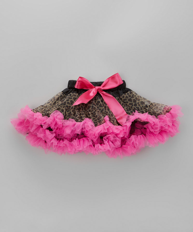 Leopard Printed Tutu With Hot Pink Trim