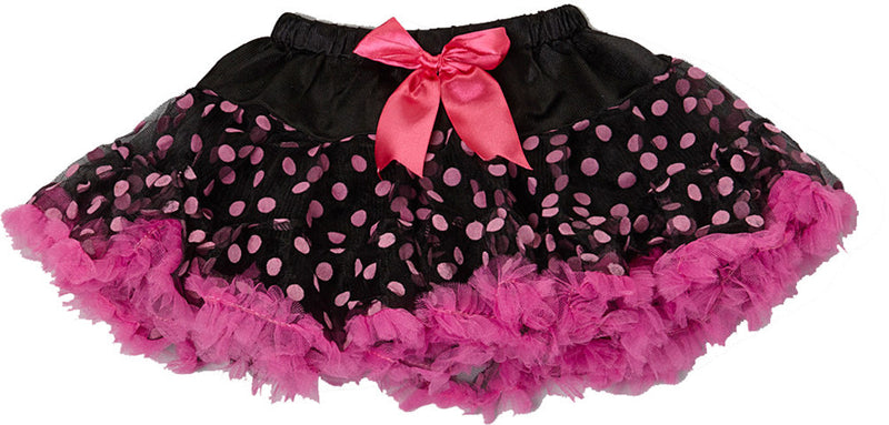 Black/Pink Dot Tutu With Hot Pink Trim