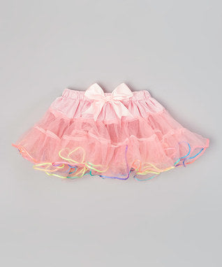 Pink Tutu With Rainbow Trim
