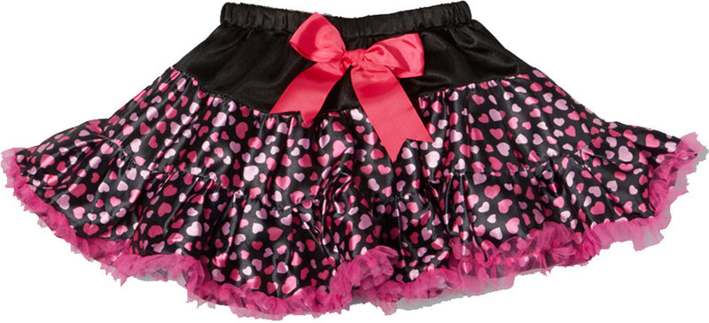 Heart Satin Tutu With Hot Pink Trim