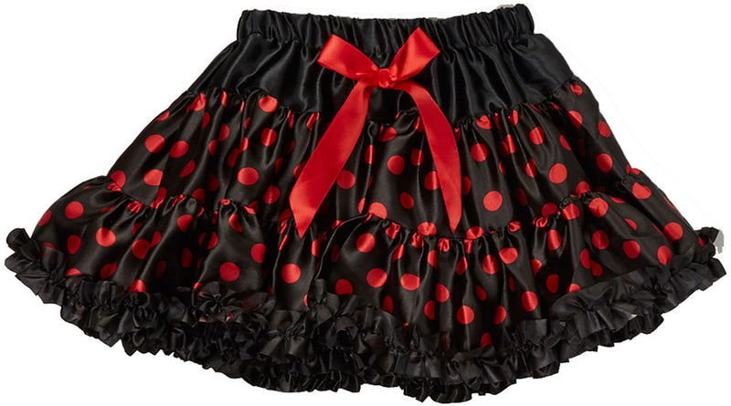 Red Polkadot Black Satin Tutu