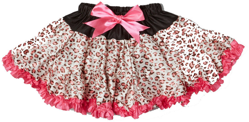 Pink Cheetah Satin Tutu With Hot Pink Trim