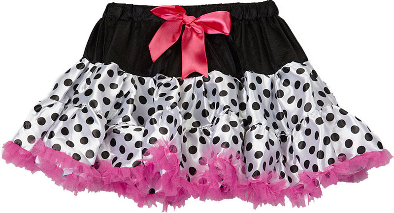 White/Black Dot Satin Tutu With Hot Pink Trim