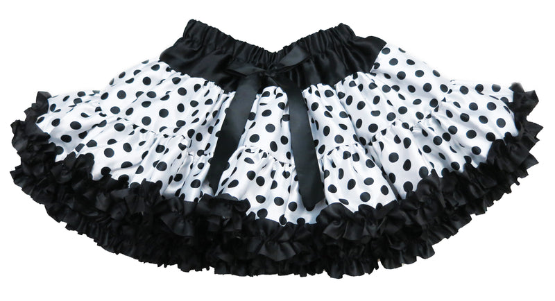 White/Black Dot Satin Tutu With Black Trim