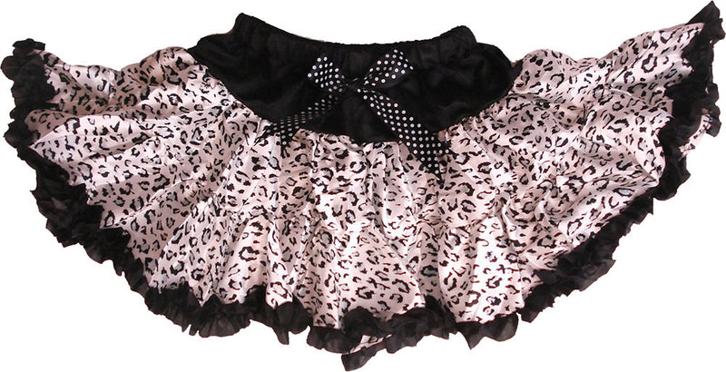 Black Cheetah Satin Tutu With Black Trim
