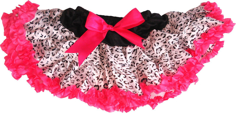Black Cheetah Satin Tutu With Hot Pink Trim