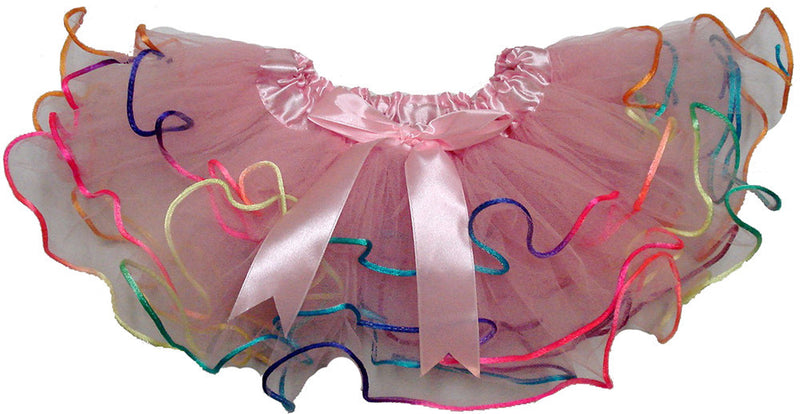 3 Layer Pink Tutu With Rainbow Trim