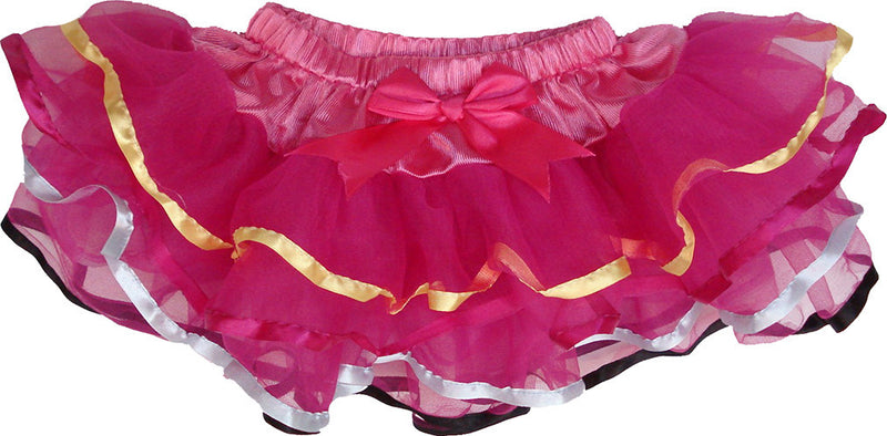 3 Layer Hot Pink Tutu With Multi Color Trim