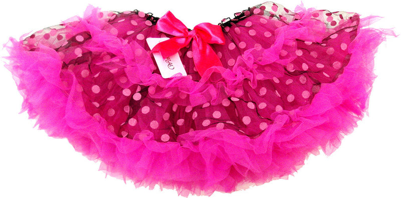 Fluffy Black/Pink Dot Tutu With Hot Pink Trim