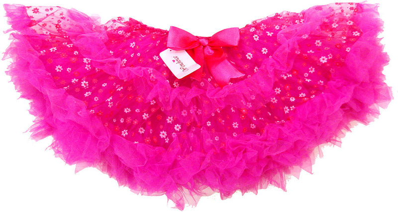 Fluffy Hot Pink Flower Tutu With Hot Pink Trim
