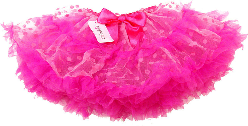 Fluffy Pink/Pink Dot Tutu With Hot Pink Trim