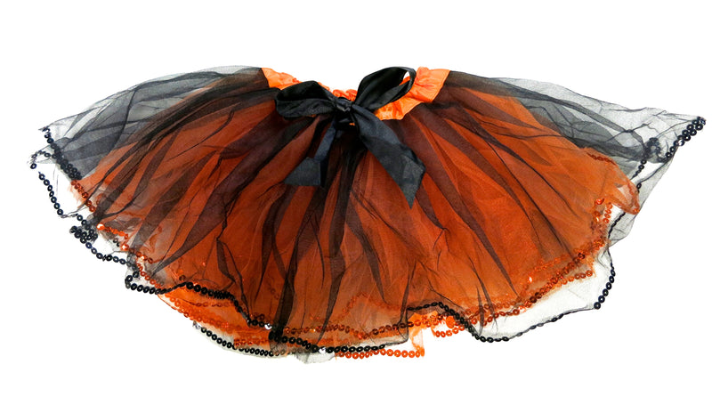 Orange & Black Tutu With Sequin Trim