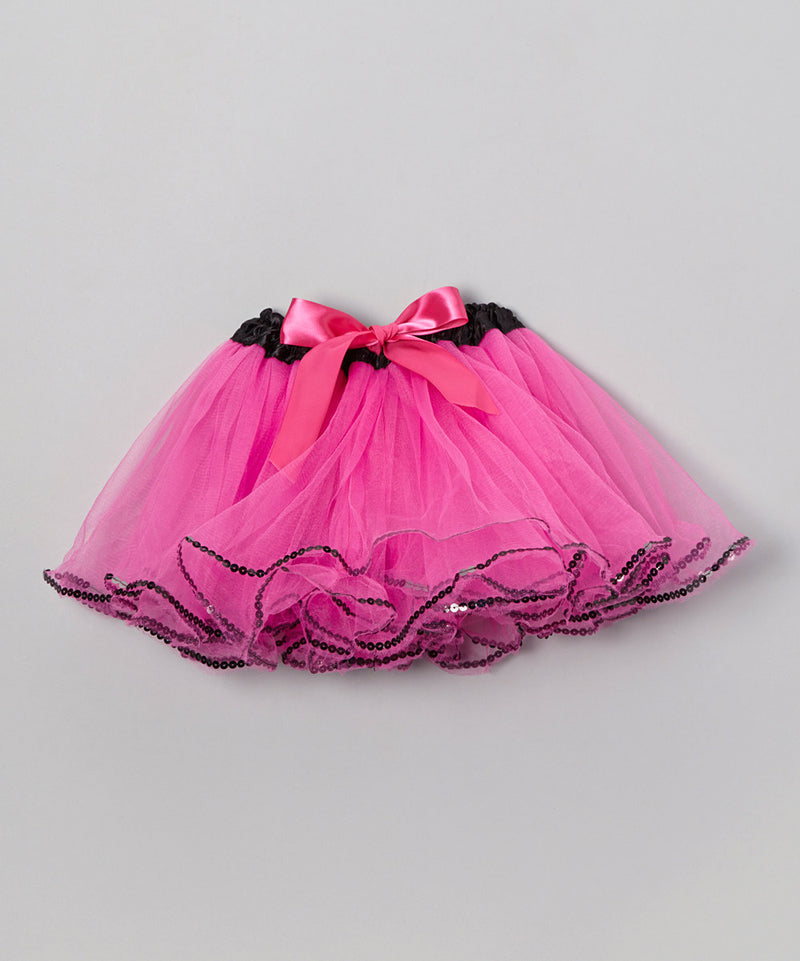 Hot Pink Tutu With Black Sequin Trim