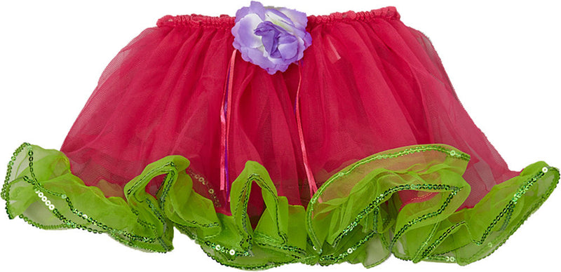 Hot Pink Tutu With Green Sequin Trim