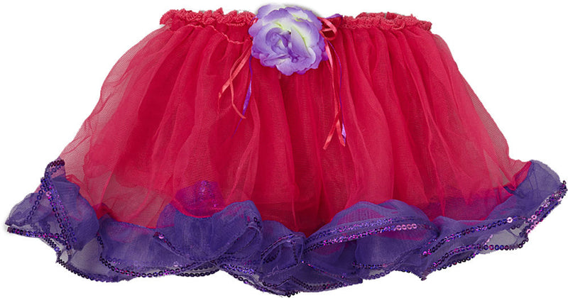 Hot Pink Tutu With Purple Sequin Trim