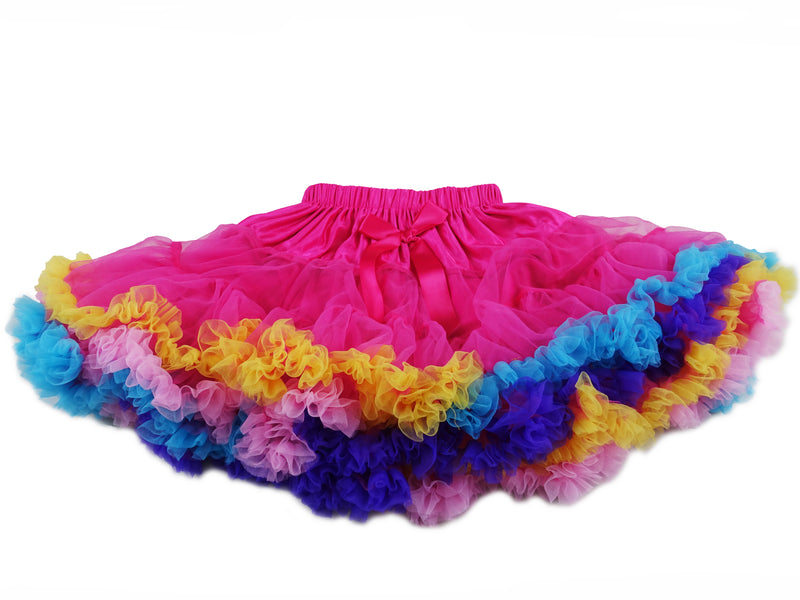 Hot Pink Rainbow Trim Chiffon Tutu Skirt